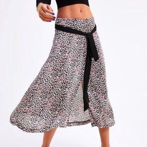ZARA Animal Print Skirt with Tie